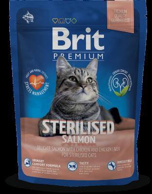Сухой корм Brit Premium Cat Sterilised для кастрированных котов и стерилизованных кошек, лосось с курицей