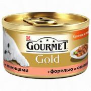 Консервы GOURMET GOLD для кошек, Форель с овощами, 24шт x 85г