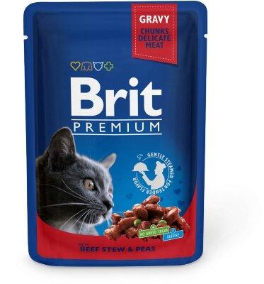 Паучи для кошек Brit Premium Говядина с горошком, 100г
