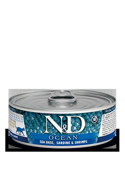 Консервы Farmina N&D Ocean для взрослых кошек, Морской окунь, сардина и креветки, 80г