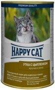 Консервы для кошек Happy Cat кусочки в желе (утка с цыпленком), 24x400г