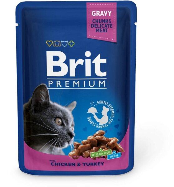 Паучи  для кошек Brit Premium, Курица и индейка, 100г