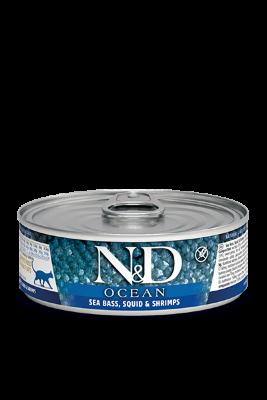 Консервы Farmina N&D Ocean для взрослых кошек, Морской окунь, кальмары и креветки, 80г