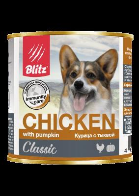 Консервированный корм Blitz Classic для собак Курица с Тыквой