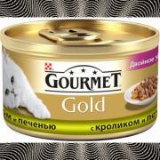 Консервы GOURMET GOLD для кошек, Кролик с печенью, 24шт x 85г
