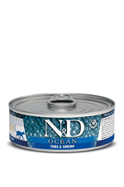 Консервы Farmina N&D Ocean для взрослых кошек, Тунец и креветки, 80г