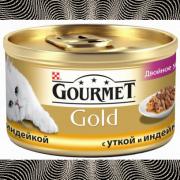 Консервы GOURMET GOLD для кошек, Утка и индейка, 24шт x 85г