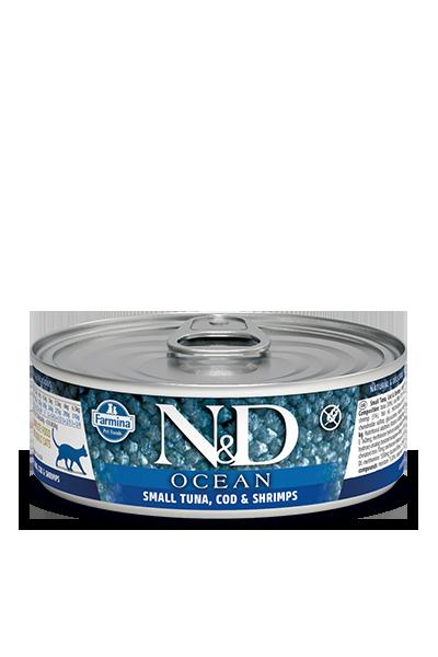Консервы Farmina N&D Ocean для взрослых кошек, Тунец, треска и креветки, 80г