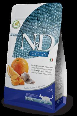 Сухой корм Farmina N&D Cat Ocean беззерновой для взрослых кошек, Сельдь, тыква и апельсин