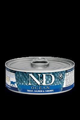 Консервы Farmina N&D Ocean для взрослых кошек, Форель, лосось и креветки, 80г