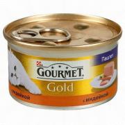 Консервы GOURMET GOLD для кошек, Индейка, 24шт x 85г