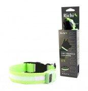 Светящийся ошейник для собак Richi на батарейках со светящейся лентой, (S) 32-34см