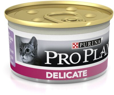 Консервы Pro Plan Delicate для кошек с чувствительным пищеварением, индейка, 24шт x 85г