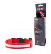 Светящийся ошейник для собак Richi на батарейках со светящейся лентой, (M) 37-40см