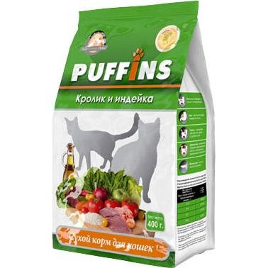 Сухой корм для кошек «PUFFINS» Кролик и индейка