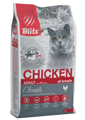 Сухой корм Blitz для взрослых кошек Курица