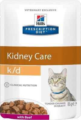 Паучи Hill's Prescription Diet k/d для лечения заболеваний почек у кошек, с говядиной, 24шт x 85г