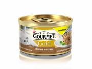 Консервы GOURMET GOLD Нежные биточки для кошек, Индейка и шпинат, 12шт x 85г