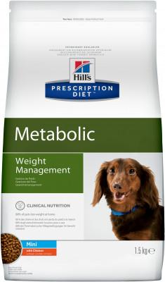 Сухой корм Hill's Prescription Diet Metabolic Weight Management Canine Mini для коррекции веса у собак мелких пород, 1,5кг