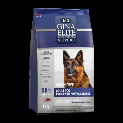 Сухой корм Gina Elite GF Dog беззерновой для взрослых собак с Уткой, бататом и апельсином