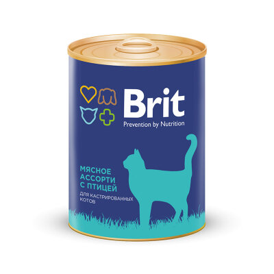 Консервы Brit Premium мясное ассорти с птицей для кастрированных котов, 340г