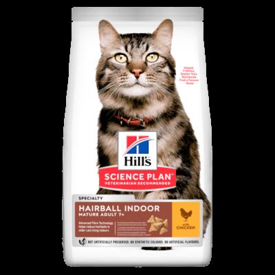 Сухой корм Hill's Science Plan Hairball Indoor для выведения шерсти у домашних кошек старшего возраста, с курицей
