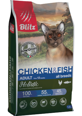 Сухой корм Blitz Holistic Adult Cat Chicken & Fish низкозерновой корм для кошек Курица и Рыба