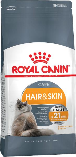 Сухой корм Royal Canin Hair & Skin Care для поддержания здоровья кожи и шерсти кошек
