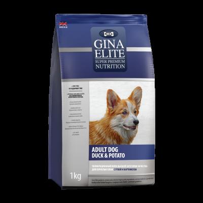 Сухой корм Gina Elite Dog беззерновой для взрослых собак Утка с картофелем