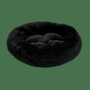 Лежанка для собак и кошек круглая с подушкой Зооник, черный мех (480х150)
