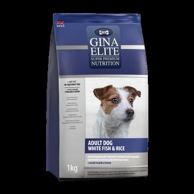Сухой корм Gina Elite Dog для взрослых собак с Белой рыбой и рисом