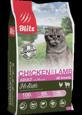 Сухой корм Blitz Holistic Adult Cat Chicken & Lamb низкозерновой корм для кошек Курица и Ягненок