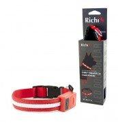 Светящийся ошейник для собак Richi LED на батарейках с точечными светодиодами, (S) 32-34см