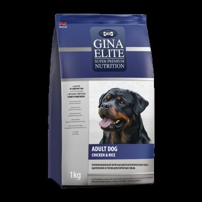 Сухой корм Gina Elite Dog для взрослых собак с Цыпленком и рисом
