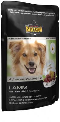 Паучи для собак Belcando с ягненком, брусникой и картофелем, 12шт x 125г