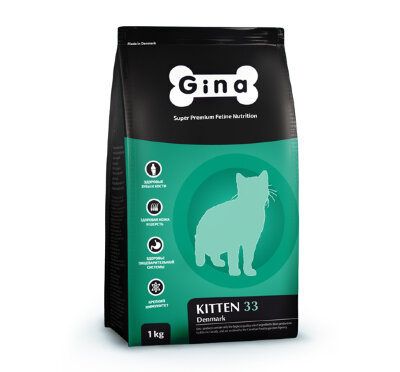 Сухой корм Gina Denmark Kitten-33 для котят, беременных и кормящих кошек