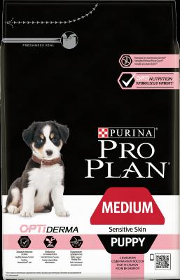 Сухой корм Pro Plan Medium Puppy Sensitive Skin для щенков средних пород с чувствительной кожей