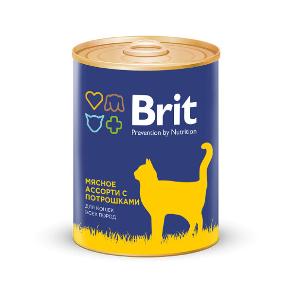 Консервы Brit Premium для взрослых кошек Мясное ассорти с потрошками, 340г