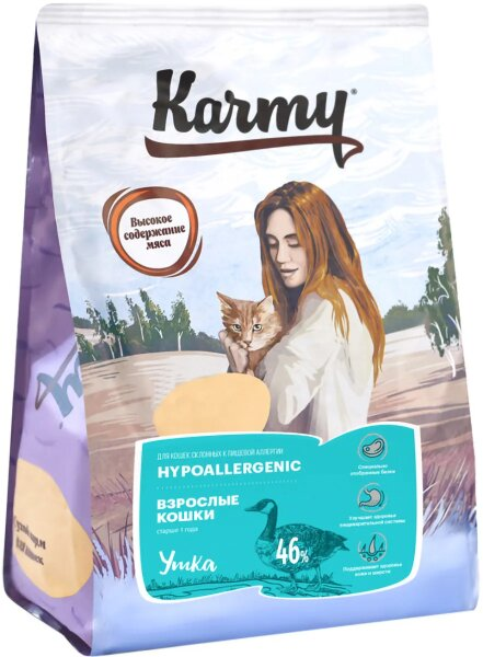 Сухой корм Karmy Hypoallergenic для взрослых кошек, склонных к пищевой аллергии