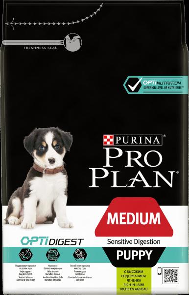 Сухой корм Pro Plan Medium Puppy Sensitive Digestion для щенков средних пород с чувствительным пищеварением