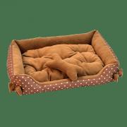 Лежанка для собак Зооник прямоугольная с бантиком, ПВХ+флис+синтепон (470х570х120)