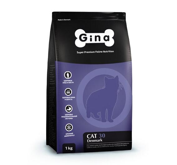 Сухой корм Gina Denmark Cat-30 полнорационный для взрослых кошек