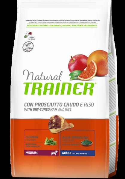 Сухой корм Trainer Natural Medium Adult - Dry-Cured Ham and Rice для взрослых собак средних пород с сыровяленой ветчиной и рисом