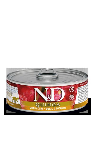 Консервы Farmina N&D Quinoa Skin & Coat для взрослых кошек, Здоровье кожи и шерсти, Перепел и кокос