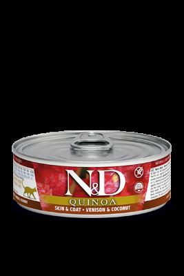 Консервы Farmina N&D Quinoa Skin & Coat для взрослых кошек, Здоровье кожи и шерсти, Оленина и кокос