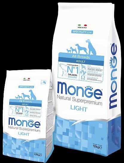 Сухой корм Monge Dog Speciality Light для собак всех пород низкоколорийный лосось с рисом, 2.5кг
