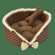 Лежанка для собак и кошек Зооник круглая с оборкой, ПВХ+флис+поролон, (400х400х150)