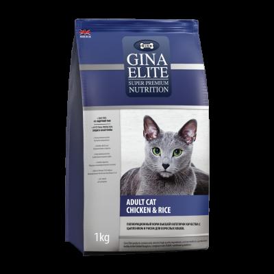 Сухой корм Gina Elite Cat полнорационный для взрослых кошек Цыпленок с рисом
