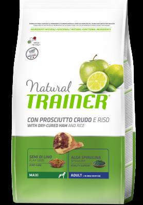 Сухой корм Trainer Natural Maxi Adult - Dry-Cured Ham and Rice для взрослых собак крупных пород с сыровяленой ветчиной и рисом