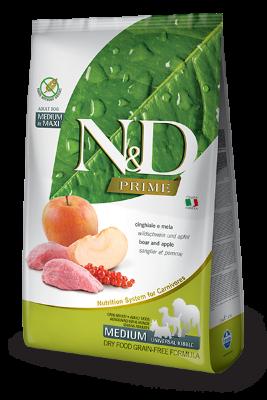 Сухой корм Farmina N&D Prime Dog Adult Medium & Maxi беззерновой для взрослых собак средних и крупных пород с мясом кабана и яблоком